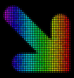 rainbow colored pixel arrow down right icon vector image