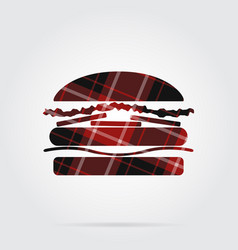 Red black tartan isolated icon - hamburger vector