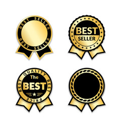 ribbon awards best seller set gold ribbon award vector image