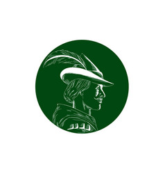 Robin hood side profile circle woodcut vector