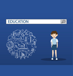Schoolboy with education search engine bar vector
