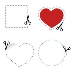 Scissors cut out the shape vector