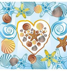 Sea love heart vector image