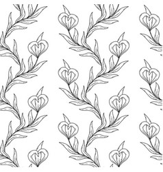 seamless floral black and white pattern vector image