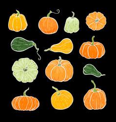 set decorative orange and green pumpkins hand vector image