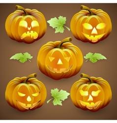 set of orange halloween pumpkins and leaves vector image