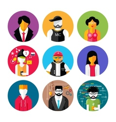 Set of stylish avatars of man and woman icons vector