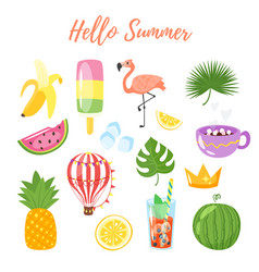 Set of summer symbols vector