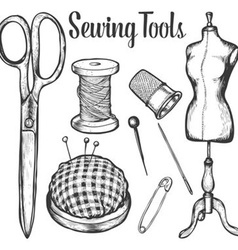 Sewing Tools Set vector image