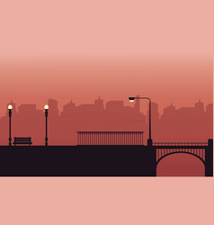 Silhouette of chair lamp and bridge landscape vector