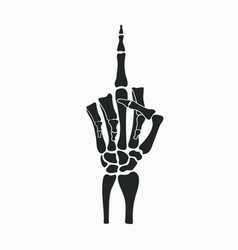 skeleton hand shows middle finger gesture vector image