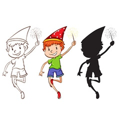 Sketches of a boy celebrating vector image
