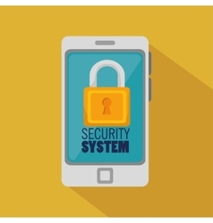 Smartphone security system padlock icon vector
