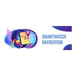 Smartwatch navigation concept banner header vector