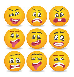 Smiley faces with different facial expressions vector