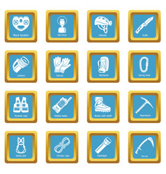 Speleology equipment icons set sapphirine square vector