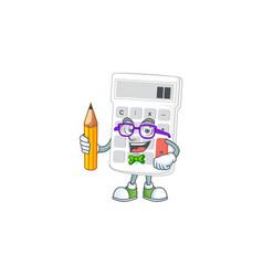 Student cartoon calculator white for calculate vector