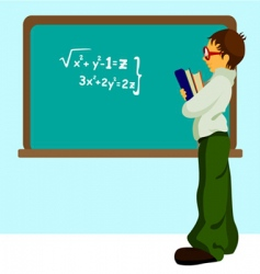 student with chalkboard vector image