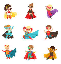 Superhero girls and boys set kids in superhero vector