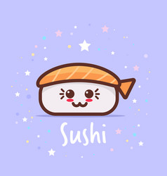 sushi cute cartoon comic character with smiling vector image