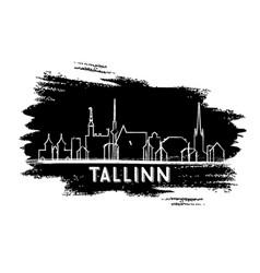 tallinn estonia skyline silhouette hand drawn vector image