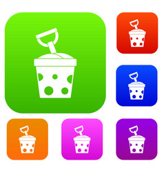 toy bucket and shovel set color collection vector image
