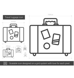 Travel luggage line icon vector