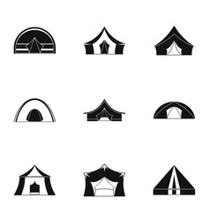Travel tent form icon set simple style vector