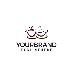 two cup coffee logo design concept template vector image