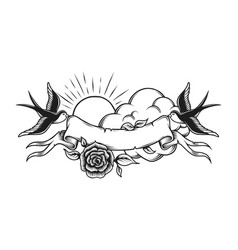 vintage romantic tattoo design template vector image