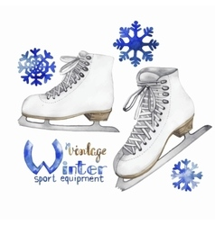 Vintage watercolor ice skates vector