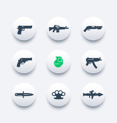 weapons icons set pistol rifle revolver shotgun vector image