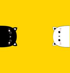 white and black cat head face line contour vector image