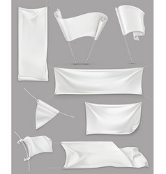 White banners and flags mesh set mockup vector