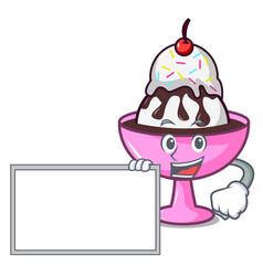 With board ice cream sundae character cartoon vector