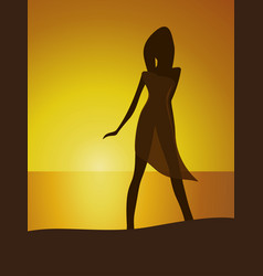 woman on seaside vector image vector image