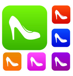 women shoe with heels set collection vector image