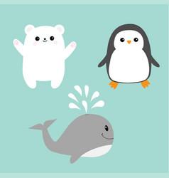 arctic polar animal icon set white bear penguin vector image vector image