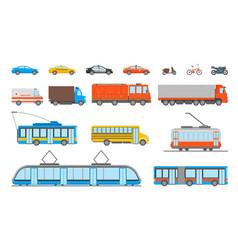 cartoon urban transport icons set vector image