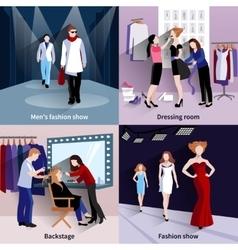 Fashion model catwalk set vector image vector image