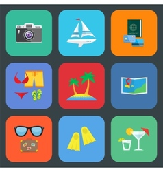 Flat travel or vacation icon set vector image