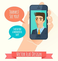 Phone conversation Flat style vector image vector image