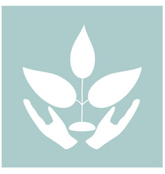 plant and hand the white color icon vector image vector image