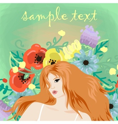 portrait of beautiful redhead girl vector image vector image