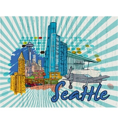 seattle doodles vector image vector image