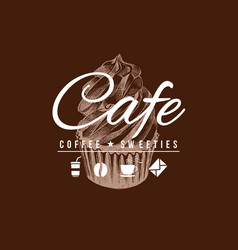 cafe sign with hand drawn cupcake vector image