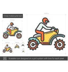 Cross motorcycle line icon vector