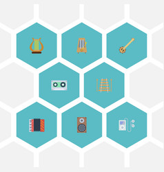 Flat icons rhythm motion tape musical instrument vector