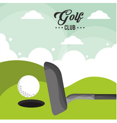 golf club ball field hole one poster vector image