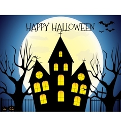 Happy Halloween house scary on blue background vector image vector image